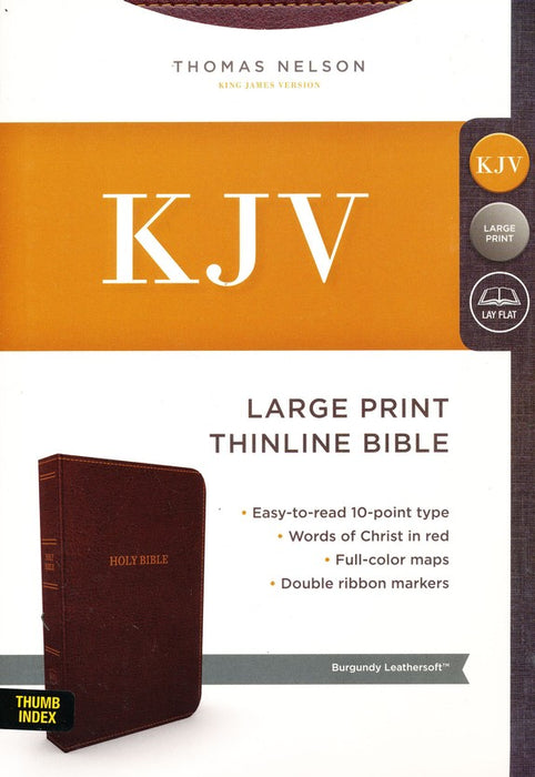 KJV Large Print Thinline Bible Comfort Print, Burgundy Leathersoft, Indexed