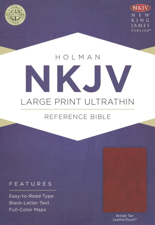 NKJV Ultrathin Large Print LeatherTouch Bible, British Tan