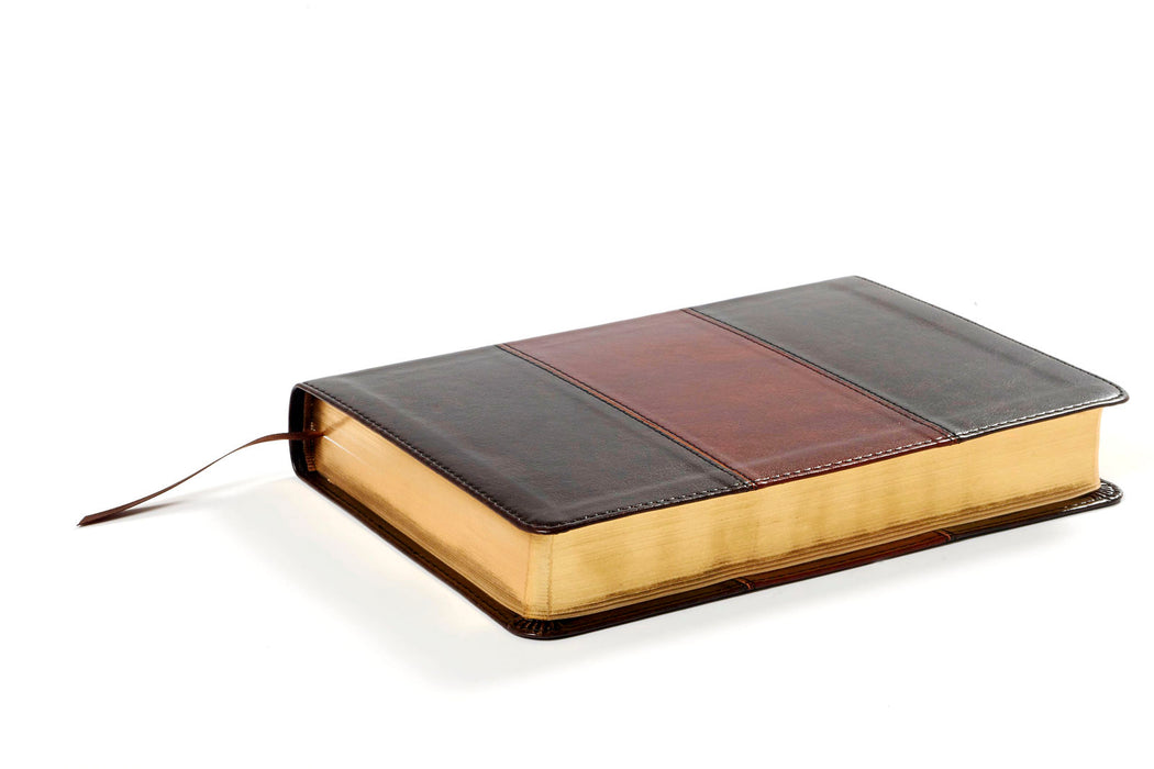 NKJV Large Print Personal Size Reference Bible - Saddle Brown Deluxe LeatherTouch