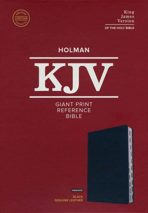 KJV Giant Print Reference Bible Black Genuine Leather Indexed