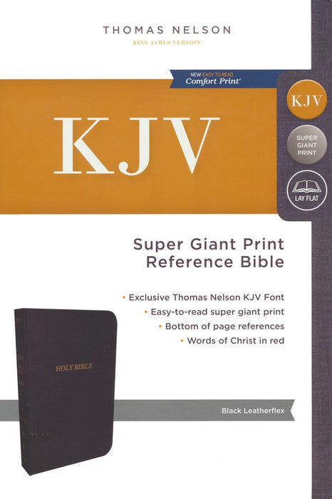 KJV Super Giant Print Reference Bible Black Leatherflex, Indexed