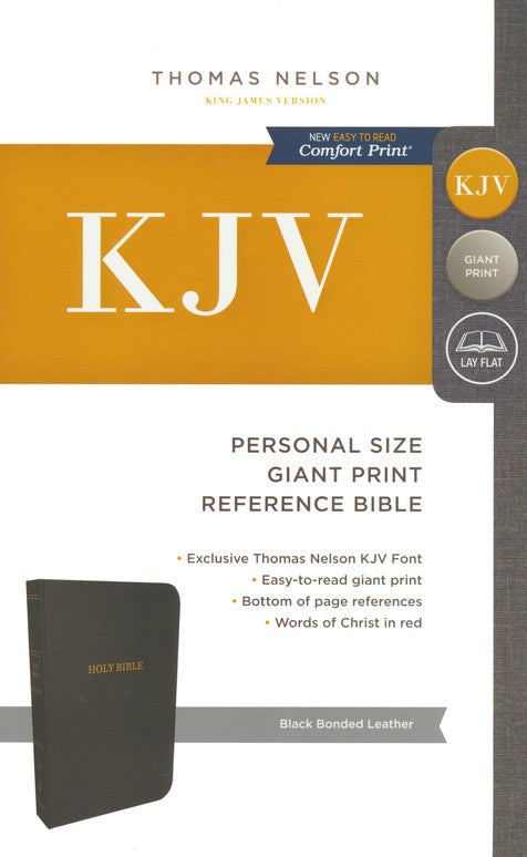 KJV Personal Size Giant Print Reference Bible - Black Bonded Leather