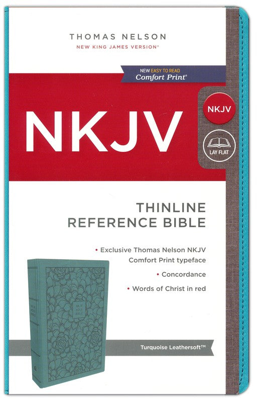 NKJV Thinline Reference Bible Turquoise Leathersoft