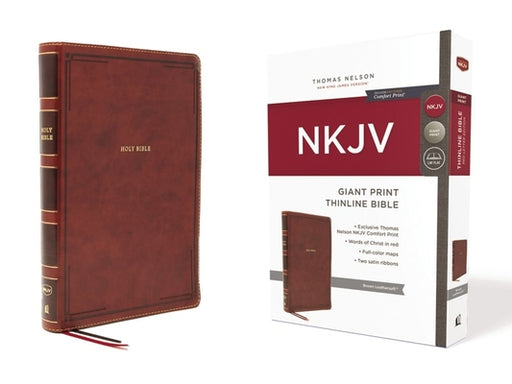 NKJV Large Print Thinline Bible Brown LeatherSoft, Indexed