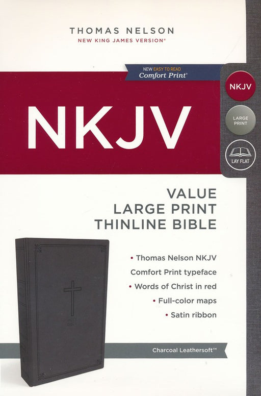 NKJV Value Large Print Thinline Bible Charcoal Leathersoft