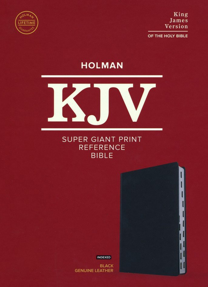 KJV Super Giant Print Reference Bible Black Genuine Leather Indexed