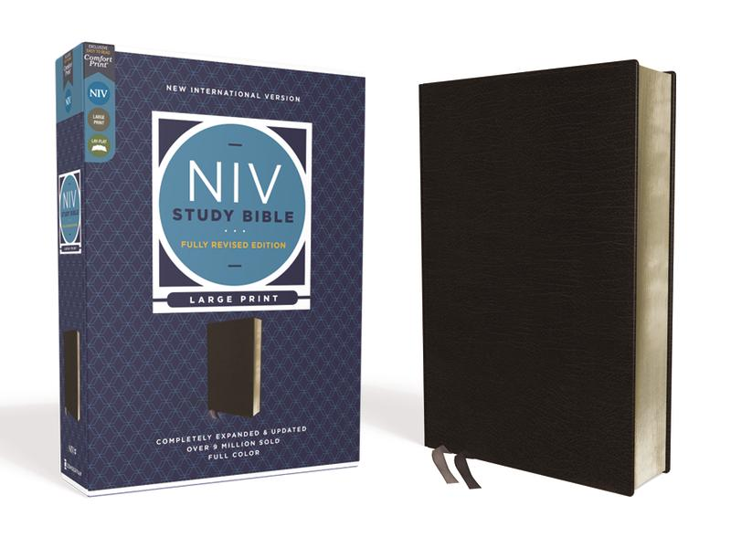 NIV Study Bible - Large Print - Black Bonded Leather, Indexed