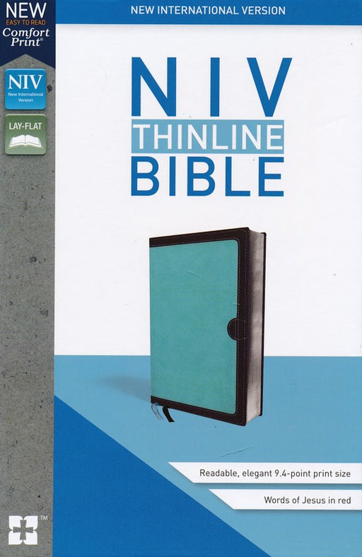 NIV Thinline Bible Turquoise/Chocolate Leathersoft