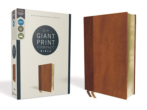 NIV Giant Print Compact Bible Brown Leathersoft