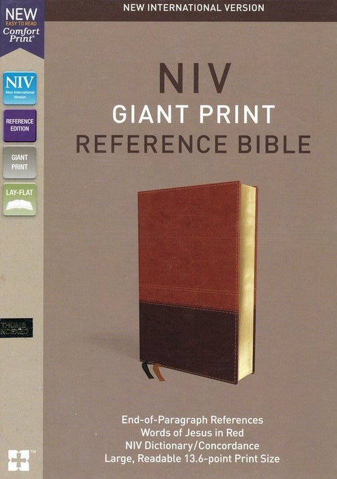 NIV Comfort Print Giant Print Reference Bible Brown Leathersoft, Indexed