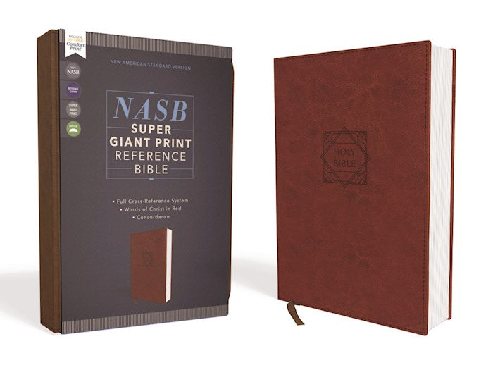 NASB Super Giant Print Reference Bible Brown Leathersoft