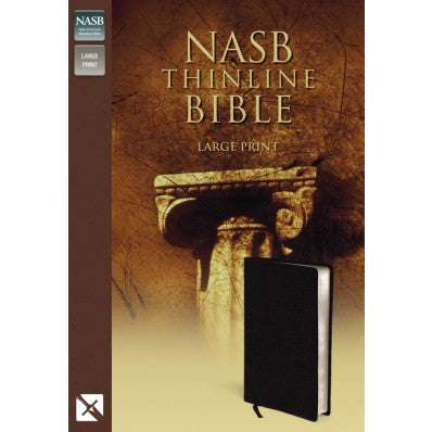 NASB Thinline Large Print Bible - Black Bonded Leather