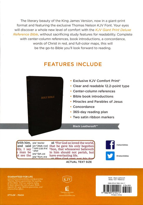 KJV Giant Print Deluxe Center Column Reference Bible - Black Leathersoft