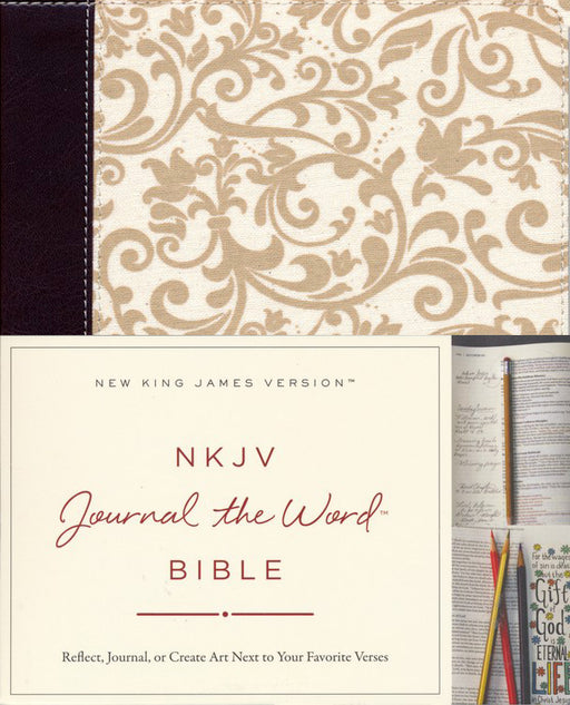 NKJV Journal the Word Bible Brown/Cream Linen Leathersoft