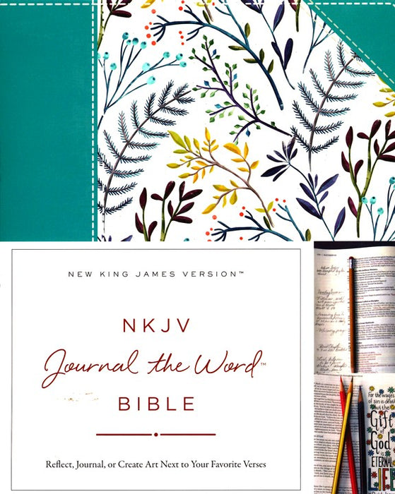 NKJV Journal the Word Bible Teal Floral HB