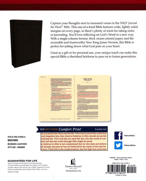 NKJV Journal the Word Bible Black Leathersoft