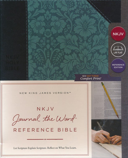 NKJV Journal the Word Bible Navy/Turquoise Leathersoft