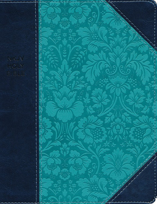 NKJV Journal the Word Reference Bible Navy/Turquoise Leathersoft