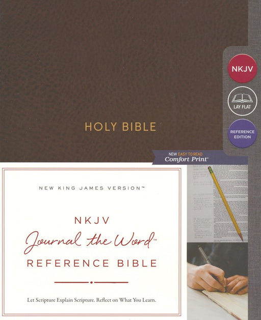 NKJV Journal the Word Reference Bible Mahogany Leathersoft