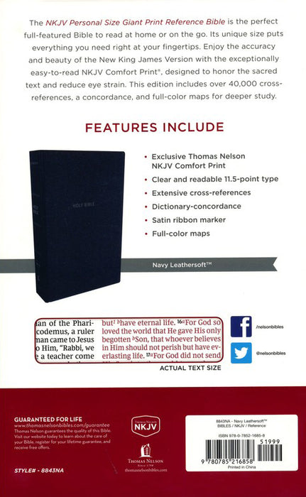 NKJV Personal Size Giant Print Reference Bible Navy Leathersoft