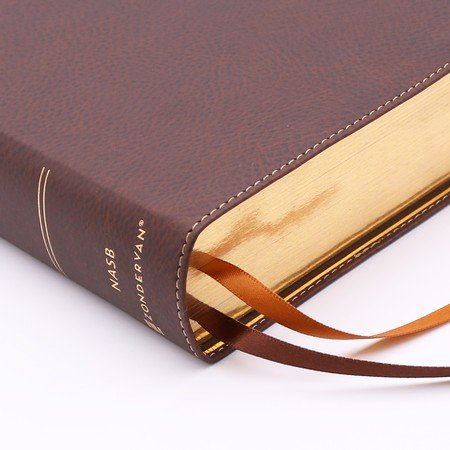 NASB Single-Column Large Print Ref Bible Brown Leathersoft