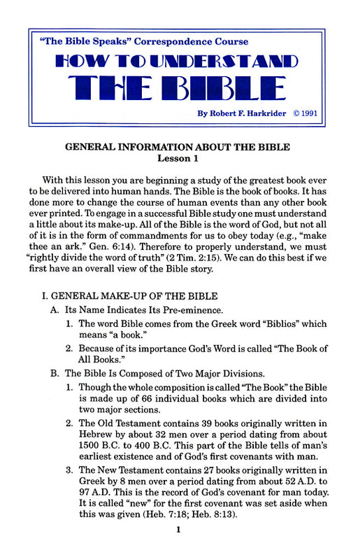How to Understand the Bible Correspondence Course:  Lesson 1