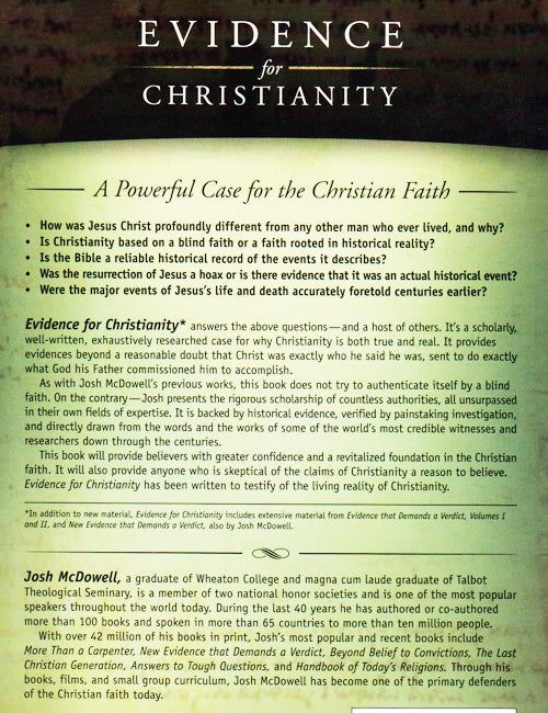 Evidence for Christianity Back Cover