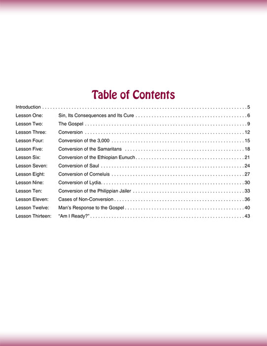 A Study of Conversion Table of Contents