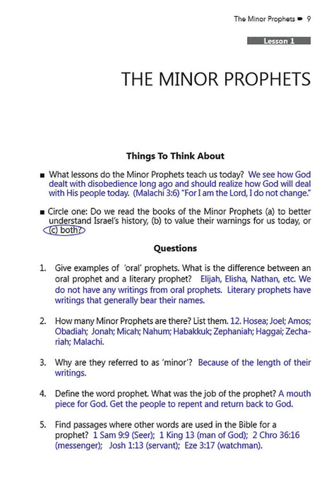 Minor Prophets (Faith Builder Series, 6:4) - Downloadable Answer Key PDF