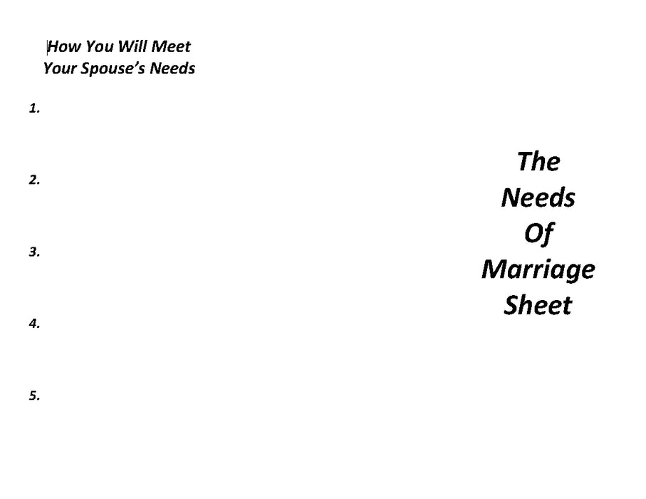 Marriage: A Reflection of God's Image - Downloadable Needs Sheet