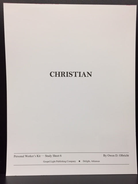 Christian: Personal Worker's Kit - Study Sheet 6