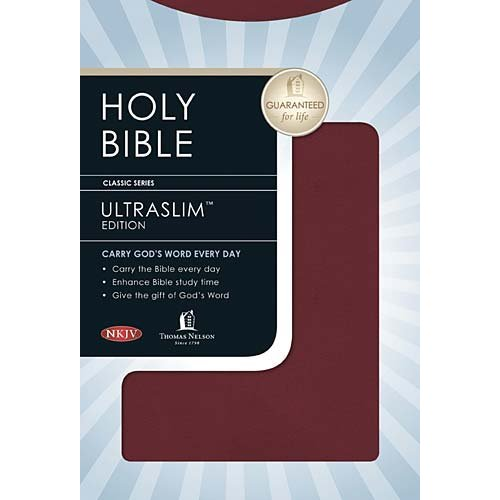 NKJV Ultraslim Bible Bonded - Burgundy indexed