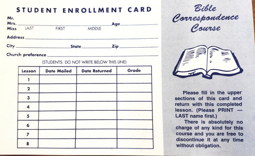 Hurt Bible Correspondence Course Enrollment/Attendance Cards