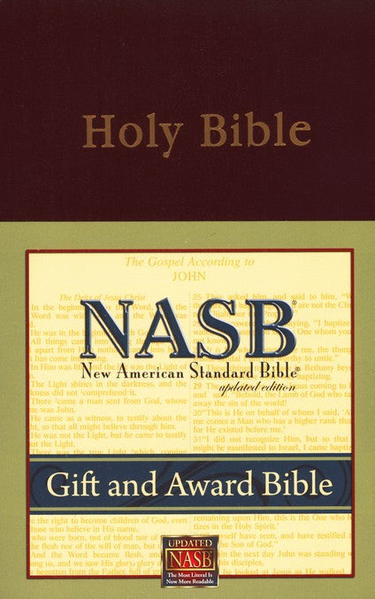 NAS Gift & Award Bible Updated - Burgundy Imitation Leather