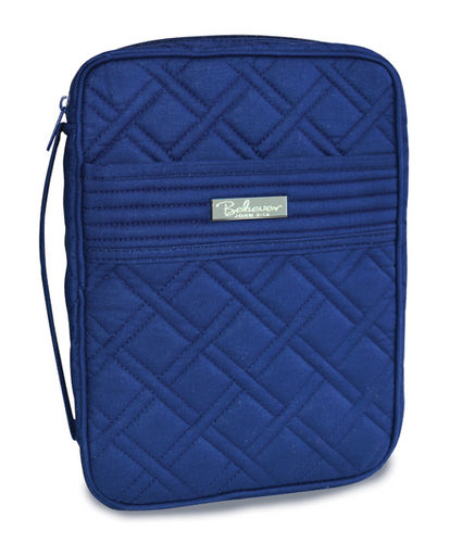 Bible Cover Quilted Navy, Large