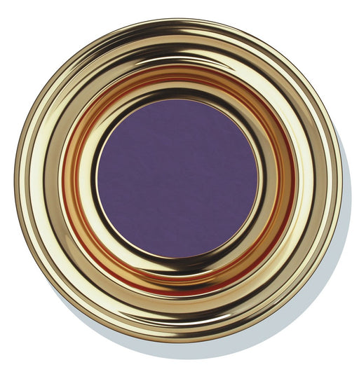 "Offering Plate - 12"" Brasstone with Purple Pad"