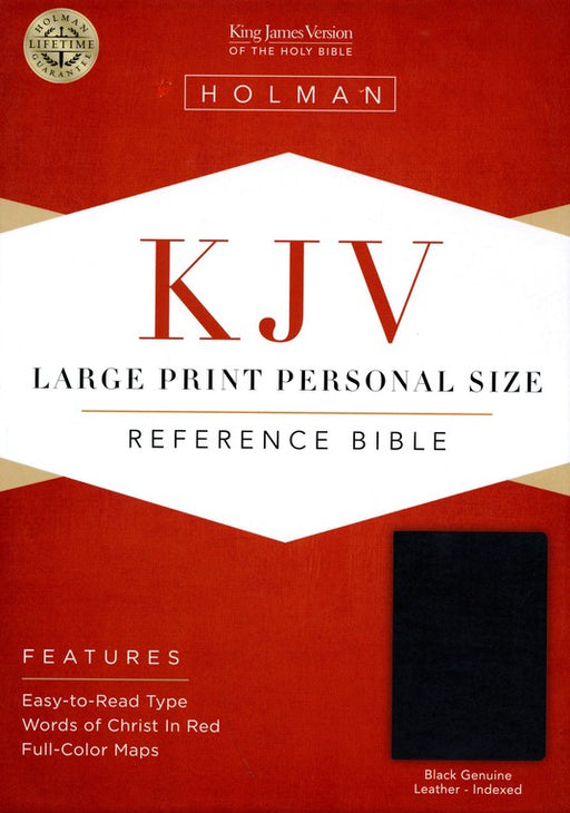 KJV Large Print Personal Size Reference Bible, Genuine Black Indexed