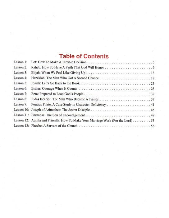 Minor Bible Characters Table of Contents