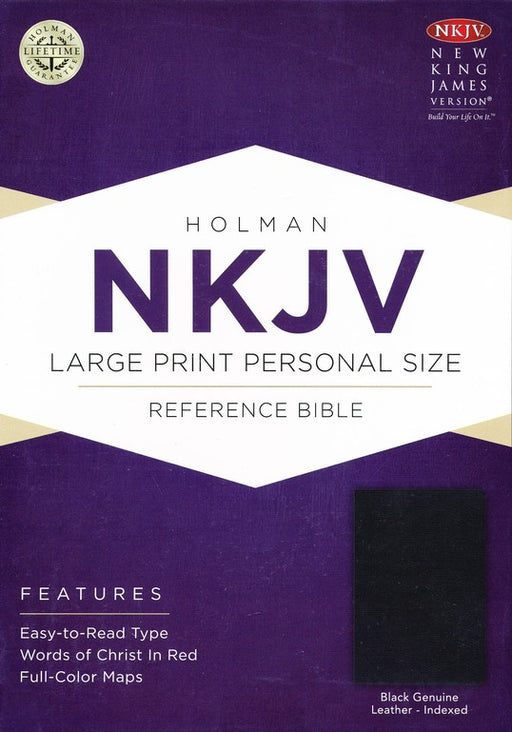 NKJV Large Print Personal Size Reference Bible Black Genuine Leather, Indexed