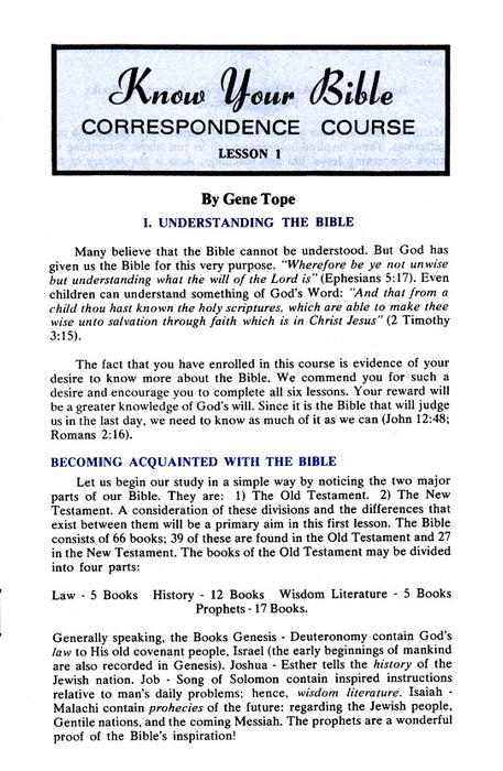 Know Your Bible CC:  Lesson 1