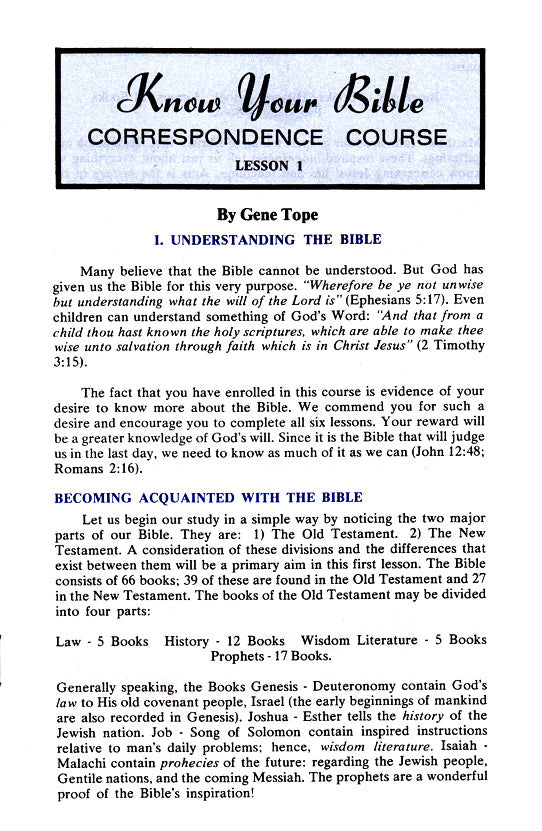 Know Your Bible Correspondence Course Set