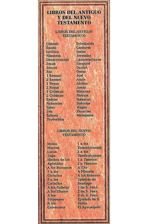 "Bookmark Libros del Antiguo y del Nuevo Testamento - Spanish Bookmark ""Books of the Old and New Testament"