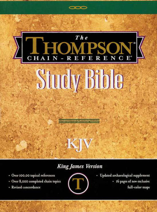 KJV Thompson Chain Reference Bible Large Print Black Genuine Leather, indexed