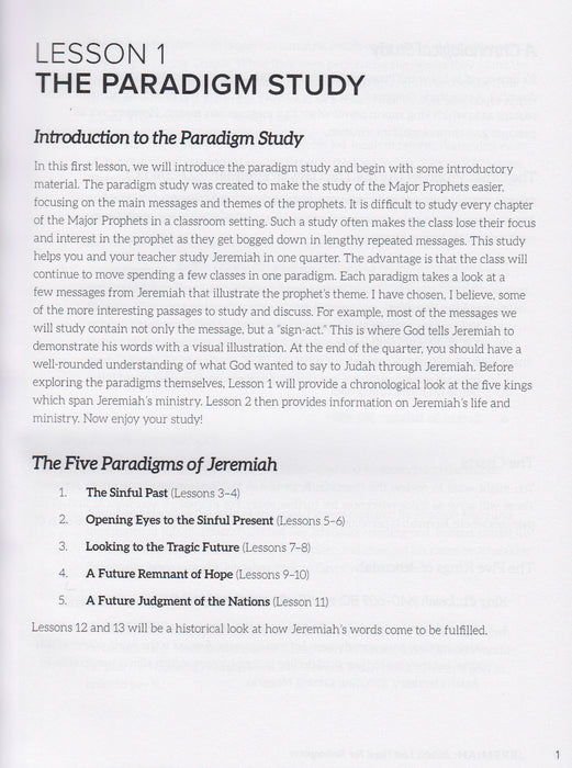 Jeremiah: Judah's Last Hope For Salvation: A Paradigm Study