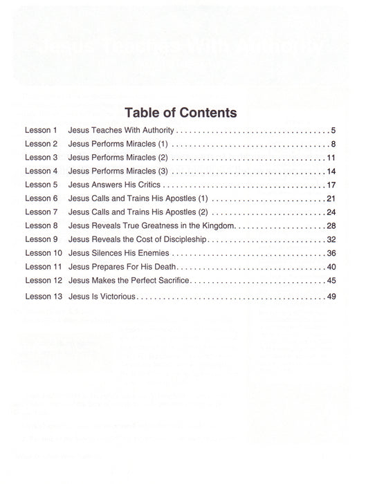 Jesus Does Table of Contents