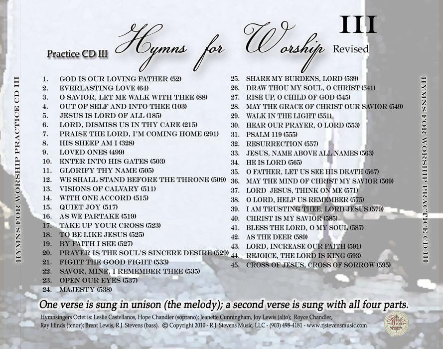 Hymns For Worship Practice CD #3
