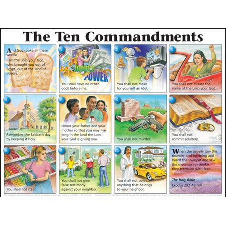 Ten Commandments NIV Wall Chart Laminated