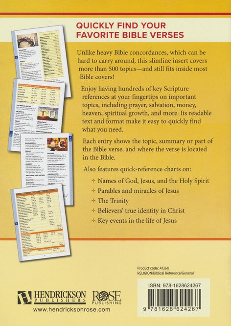 Topical Bible Index, Bible Insert