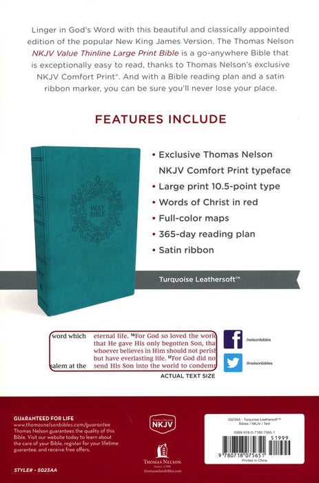 NKJV Value Large Print Thinline Bible Turquoise Leathersoft