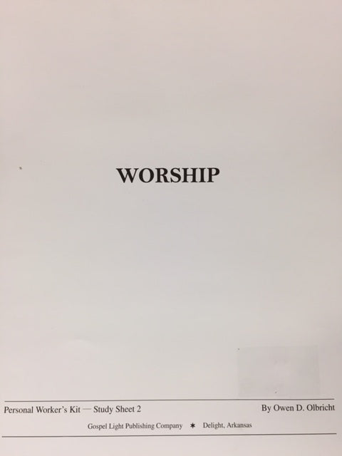 Worship: Personal Worker's Kit - Study Sheet 2